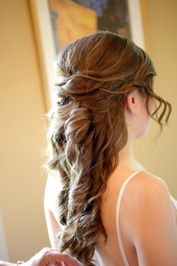 romantic half-up bridal curls updo