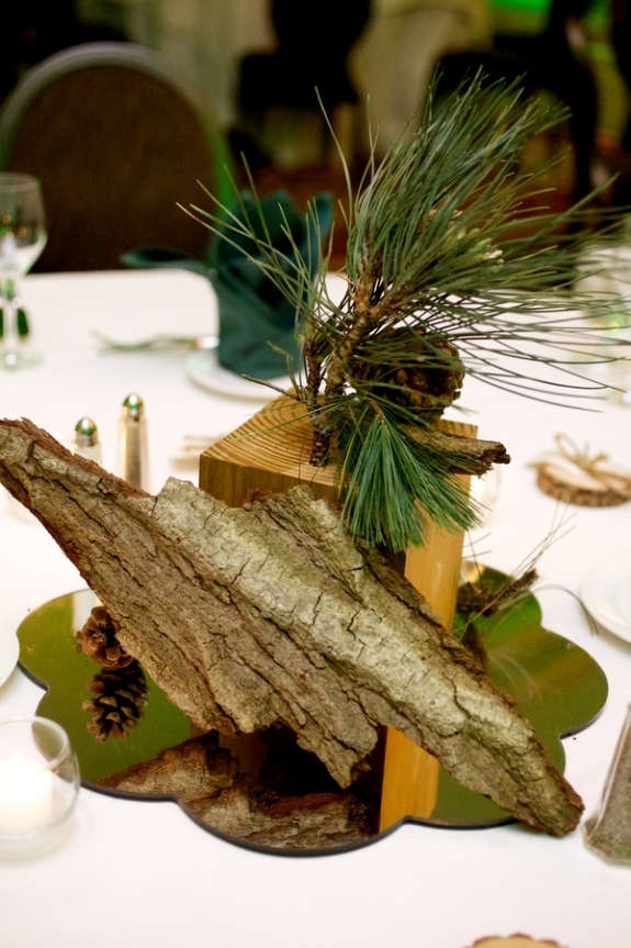 woodend pine cone wedding centerpieces