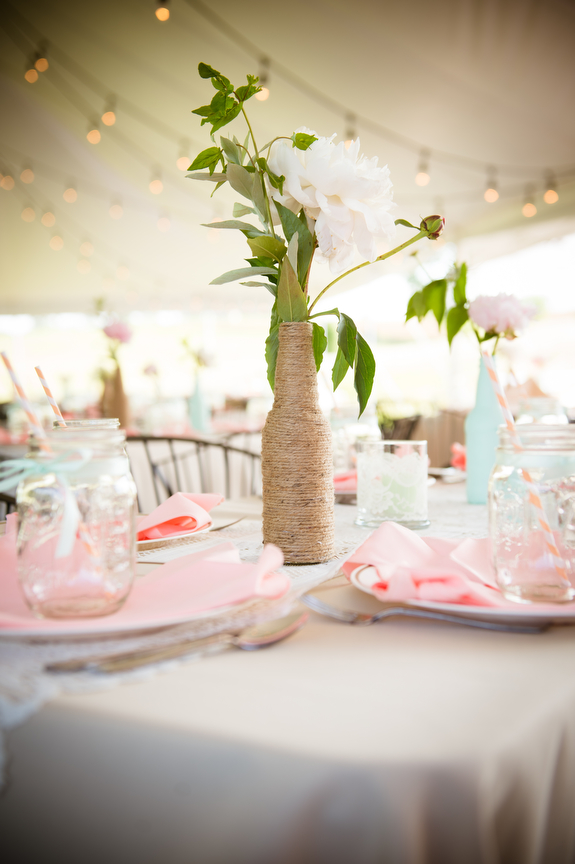 mint and coral wedding decorations