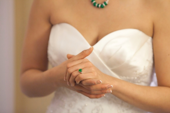 green statement jewelry bride