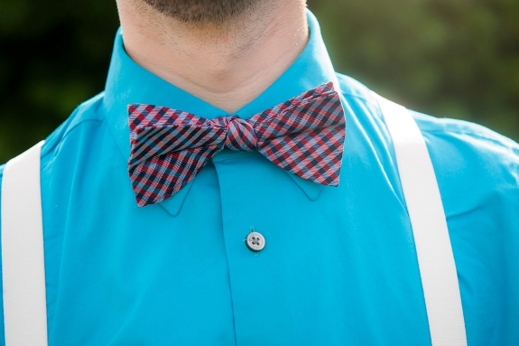 hipster groomsmen blue shirt plaid bowtie