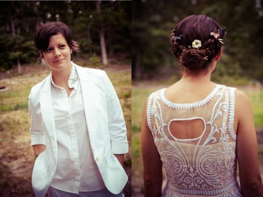 modern backyard lesbian wedding attire