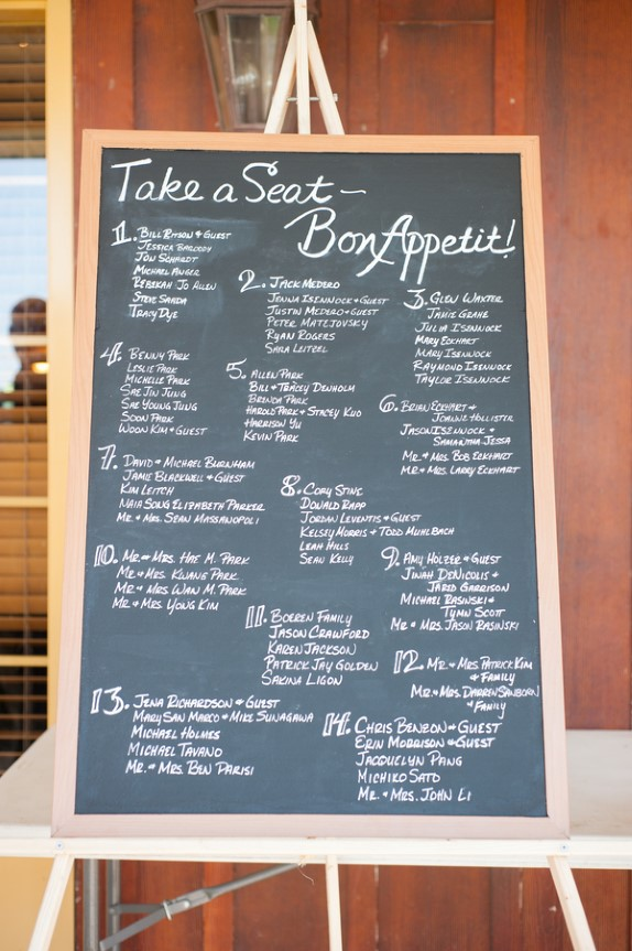 DIY chalkboard seating chart