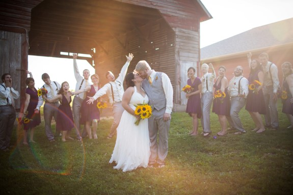 DIY purple sunflowers maryland barn wedding