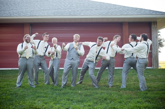 grey suits black suspenders groomsmens