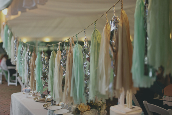 neutral teal silver tassel wedding decorations