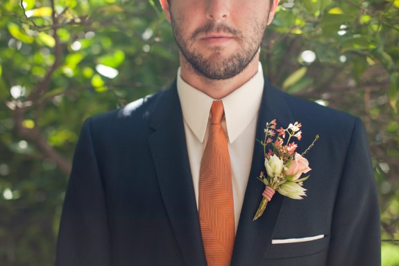 orange tie groom