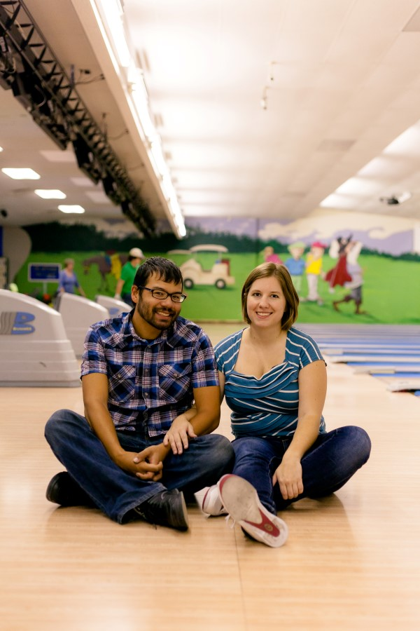maryland bowling alley engagement pictures
