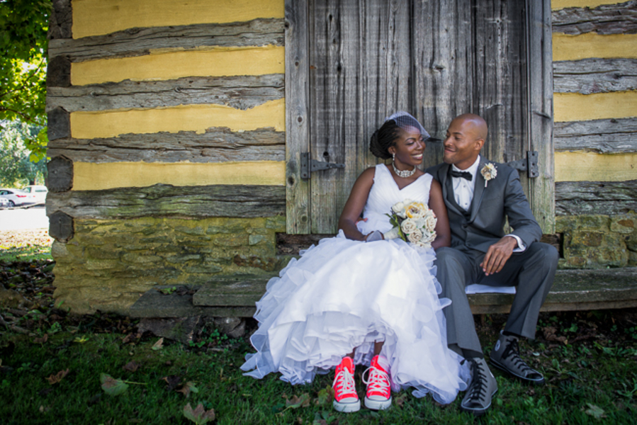 offbeat maryland wedding bride in chucks