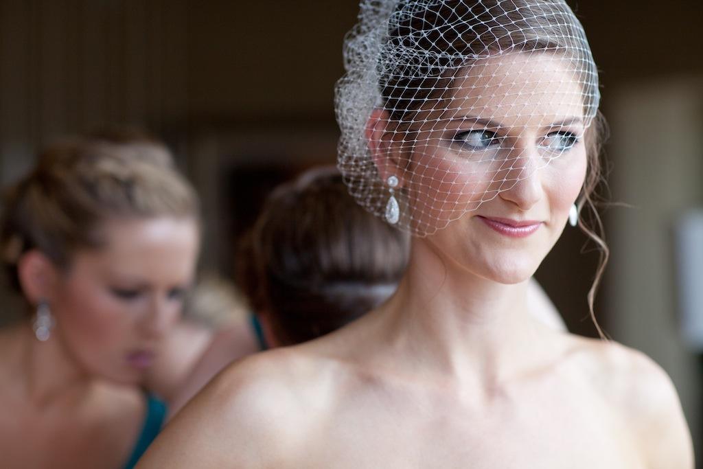 modern vintage DC bride birdcage veil