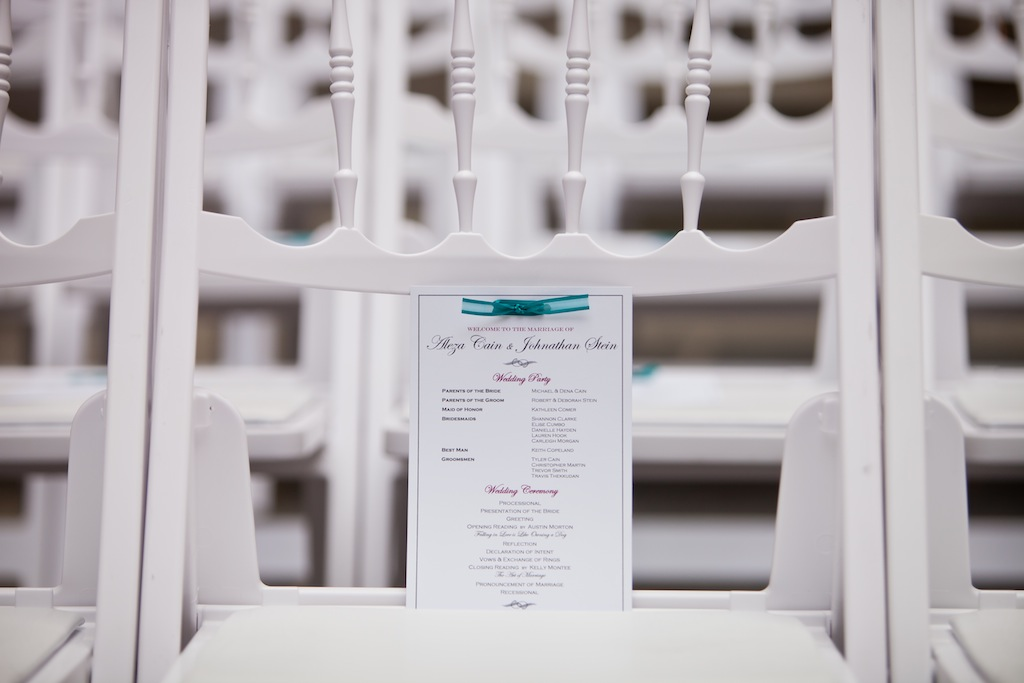 modern teal dc wedding program