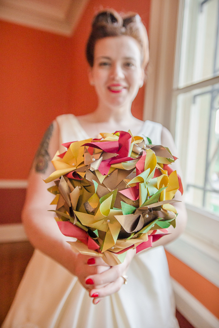 paper DIY alternative bride bouquet paper pinwheels