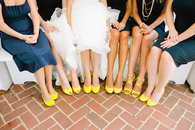 navy blue bridesmaids yellow shoes