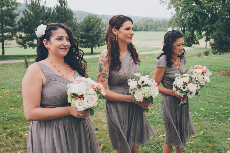 mismatched hipster grey bridesmaids
