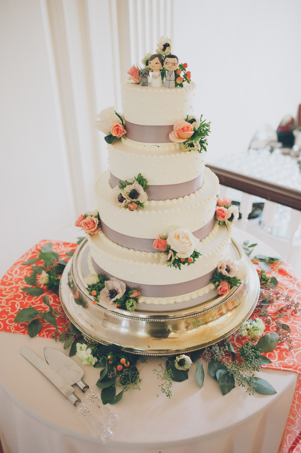 rustic grey orange wedding cake