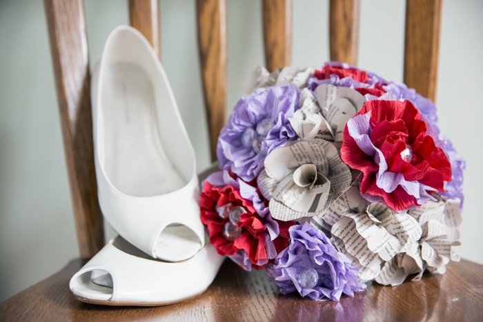 offbeat red purple paper flower bouquet