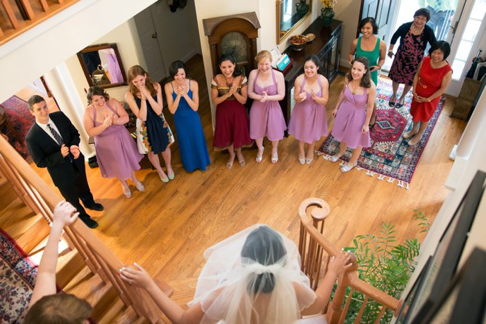 mismatched purple bridesmaids dresses