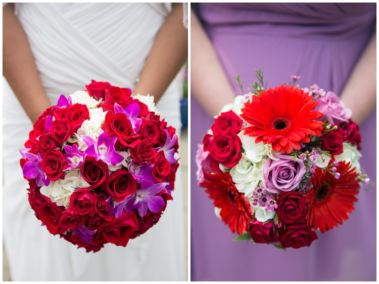 purple red flower bouquets bride bridesmaids offbeat