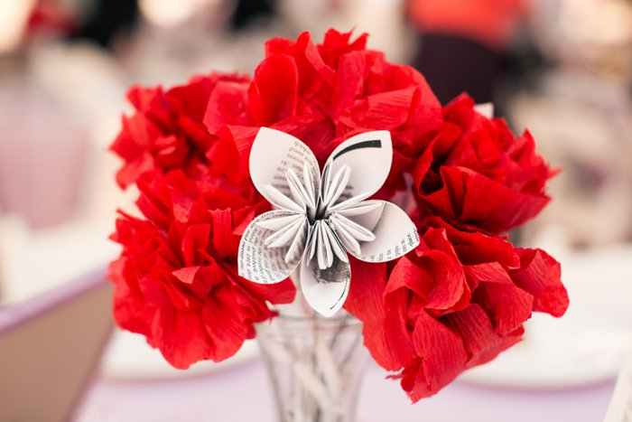 DIY tissue paper newspaper flower centerpieces