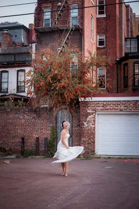 modern urban bridal portrait