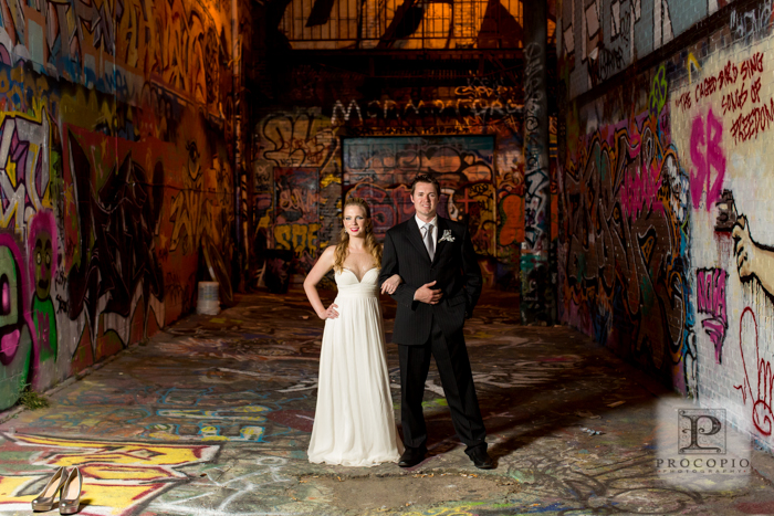 graffiti warehouse industrial urban wedding portraits