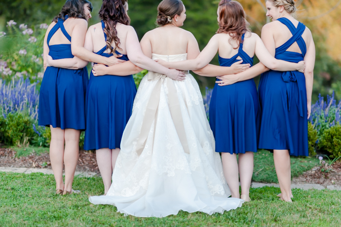 bright blue bridesmaids dresses
