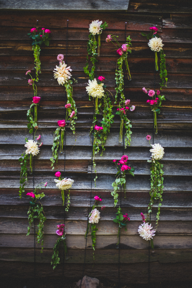 hanging flower altar wedding ceremony backdrop