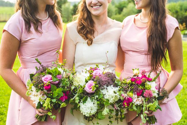 rustic handmade bridesmaids dresses pale pink