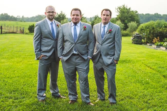 grey suits groomsmen virginia farm wedding