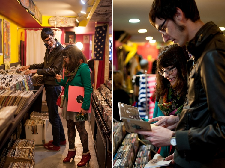 hipster dc record store engagement pictures
