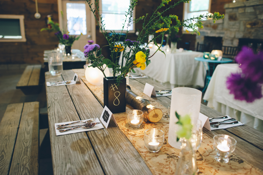 rustic DIY handmade personalized summer camp wedding details