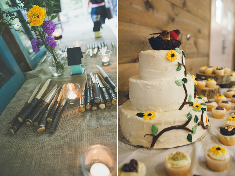 summer camp wedding cake