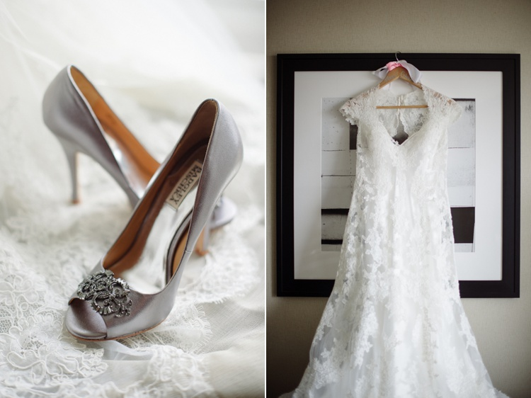 Silver Bridal Heels Lace Wedding Dress