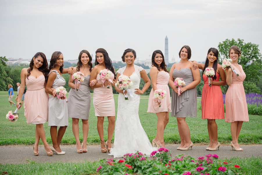 mistmatched spring bridesmaids dresses