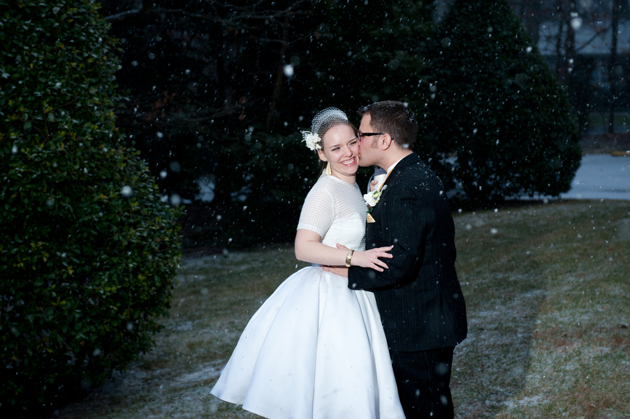 fun wedding portraits in the snow