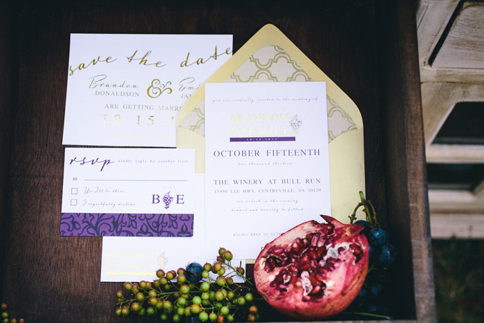 purple gold wedding invitations