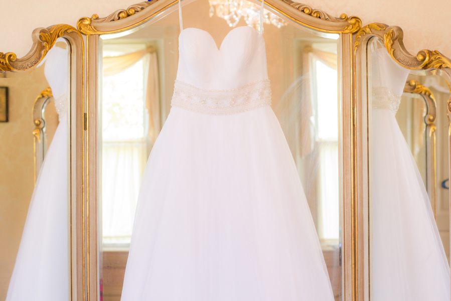 princess strapless wedding gown