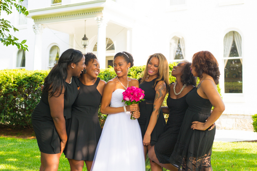 mistmatched black bridesmaids dresses