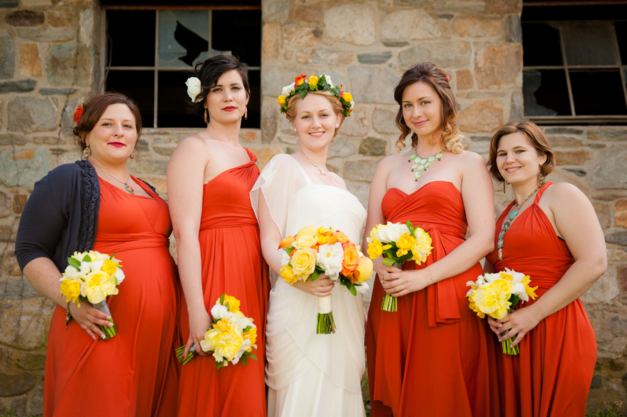 orange chameleon bridesmaids dresses