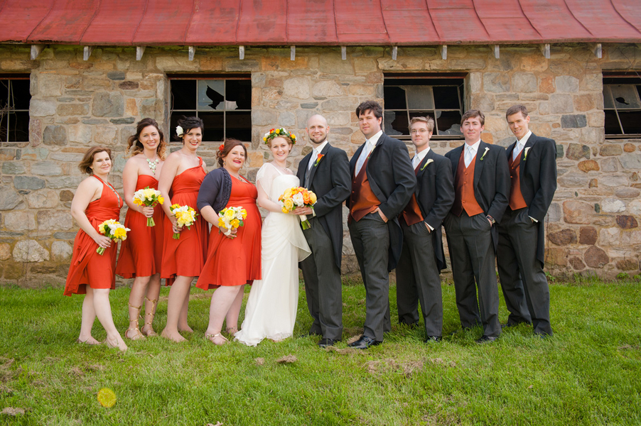 orange and yellow wedding party