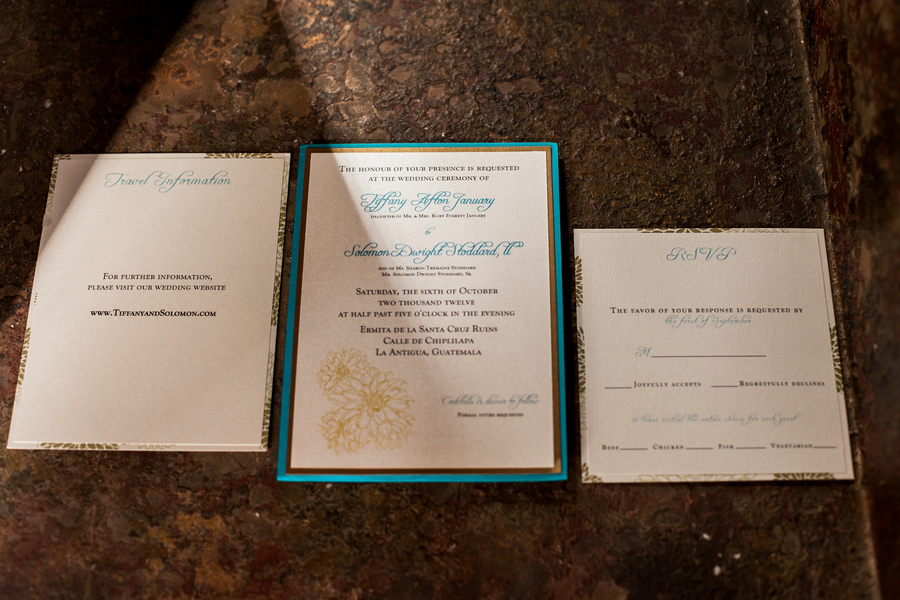 teal destination weddnig invitations