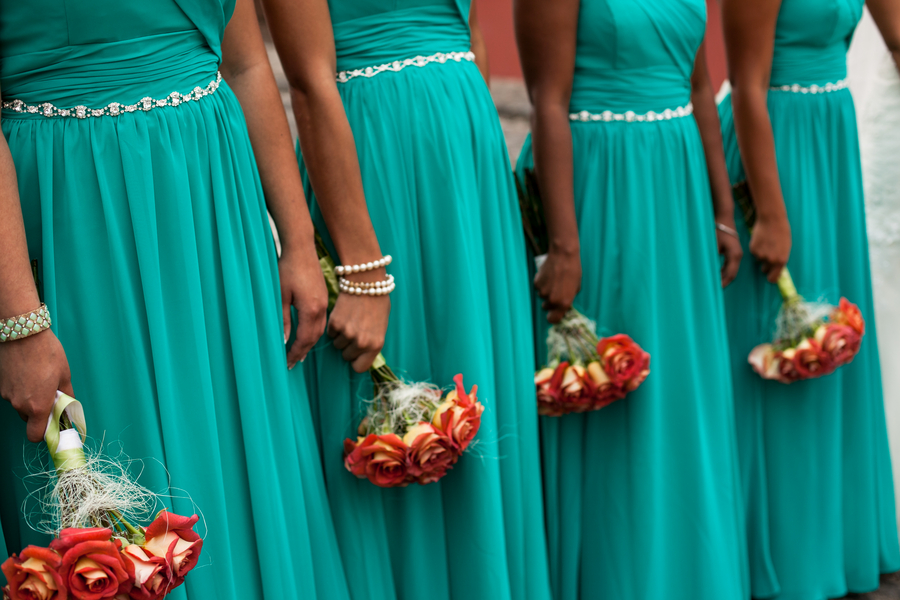 floor length teal bridesmaids dresses