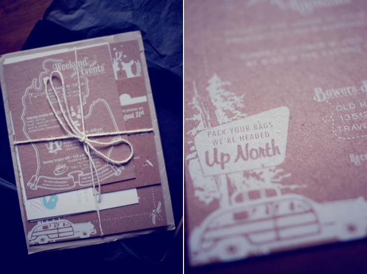 rustic brown paper white font wedding invites