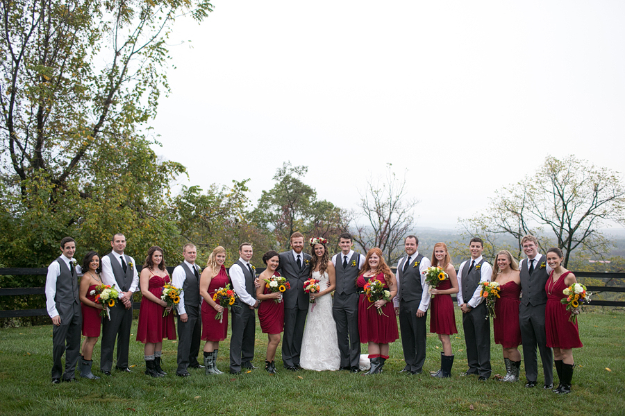 red charcoal grey wedding party boho virginia wedding