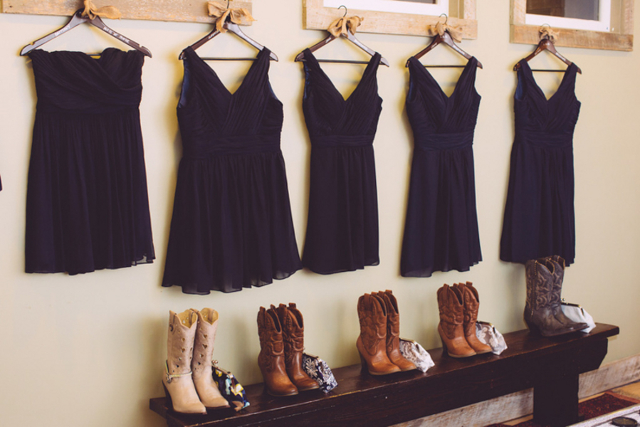 navy blue bridesmaids dresses with cowboy boots