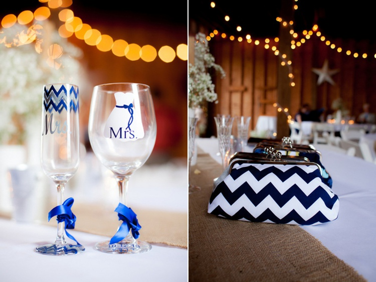 blue chevron wedding details