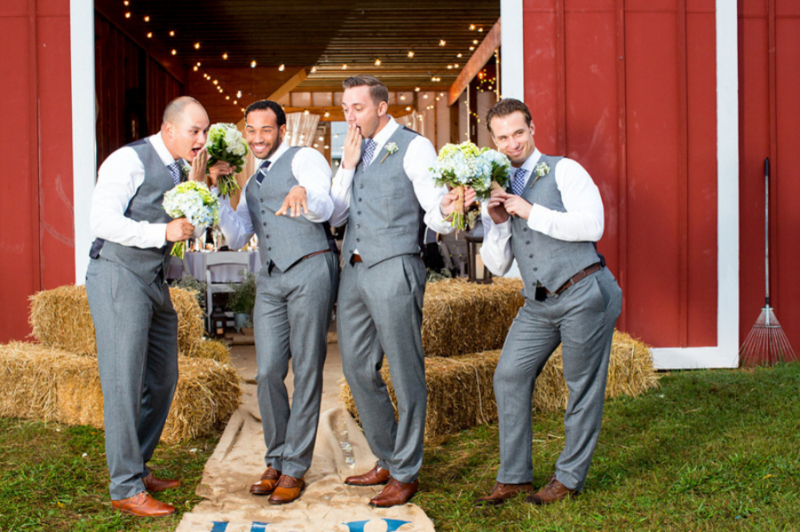 funny groomsmen portraits grey vest & pants
