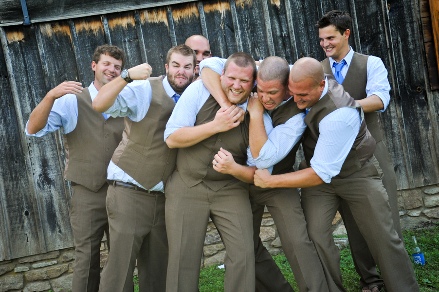 silly groomsmen portraits brown vests