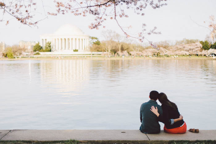 offbeat fun DC engagement pictures cherry blossoms