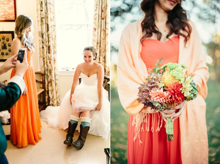 orange bridesmaids dress wildflower bouquet